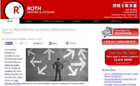 roth heating & cooling website