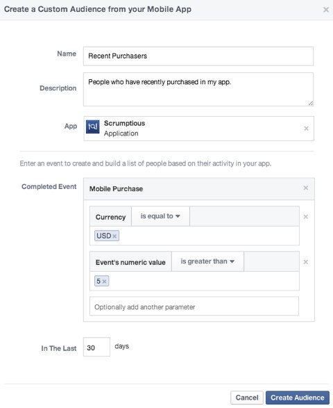 facebook custom audience mobile app