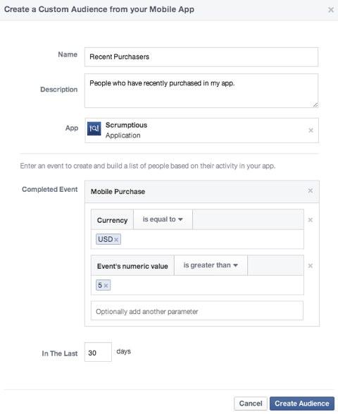 facebook custom audience mobile app