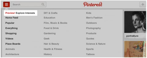 pinterest explore interests