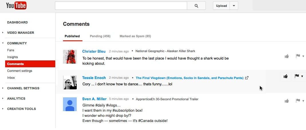 Youtube-Kommentarverwaltungstool