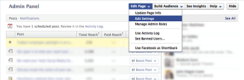 Facebook-Einstellungen bearbeiten