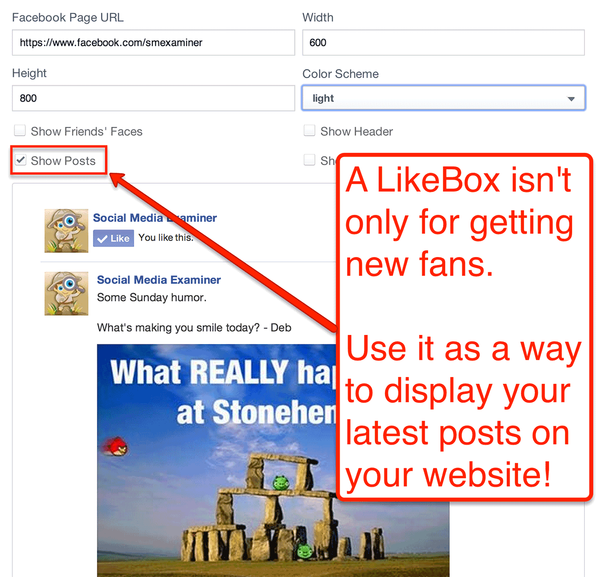 display latest posts in like box