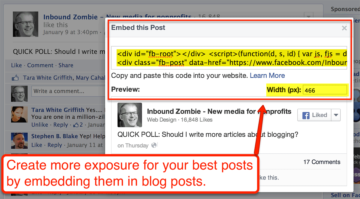 embed facebook posts