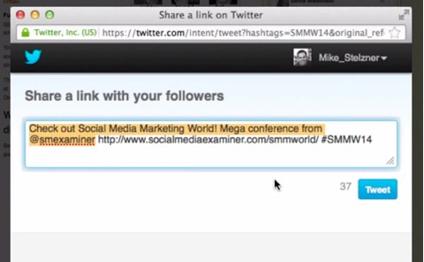 prepopulated tweet for smmw14
