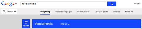 google+ hashtag search
