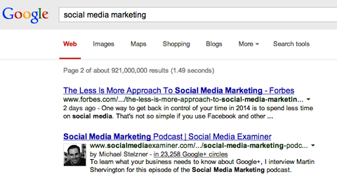 social media marketing search on google+