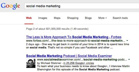 social media marketing search on google+