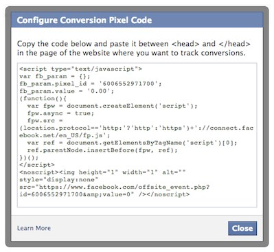 facebook conversion pixel code