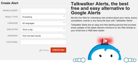 talkwalker alert page