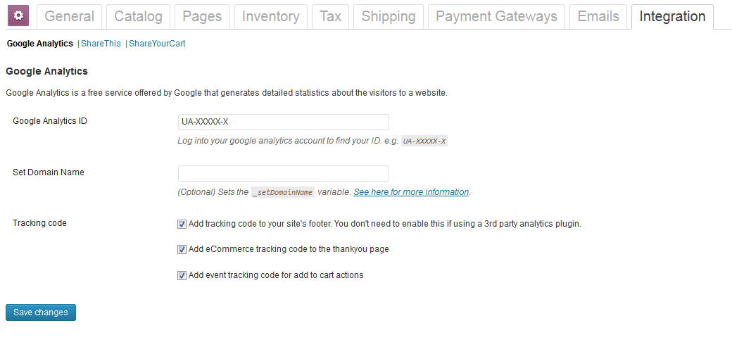 woocommerce settings google analytics