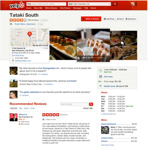 yelp new interface
