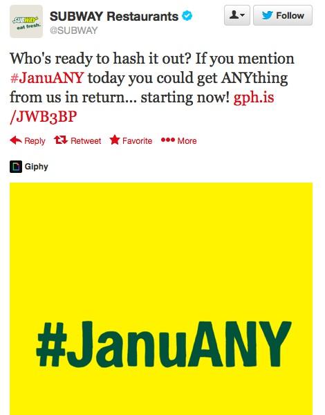 subway januany tweet