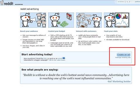 reddit advertising page