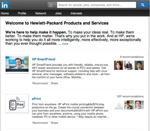 hp linkedin company page