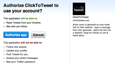 authorize clicktotweet.com to access twitter