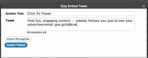 creating a tweet with easy tweet embed