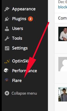 flare in wordpress dashboard