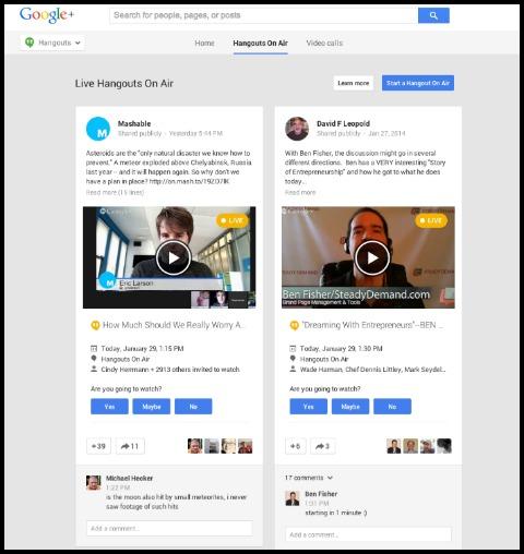 google+ hangouts on air tab