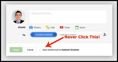 send email option on google+ post
