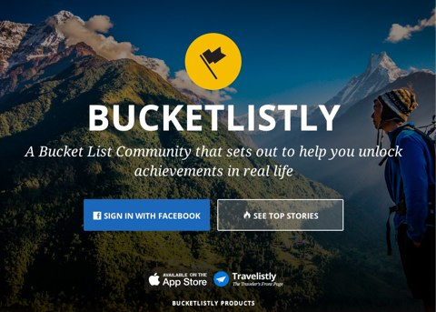 bucketlistly homepage