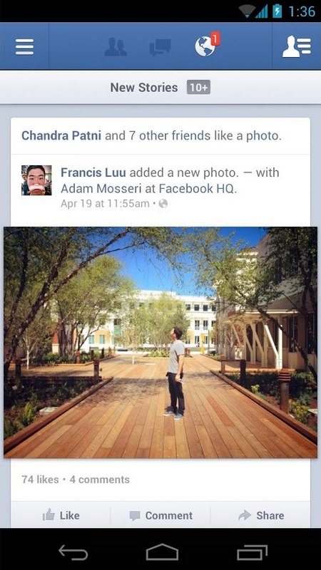 facebook for android update photos