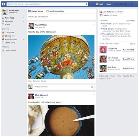 facebook update news feed font design