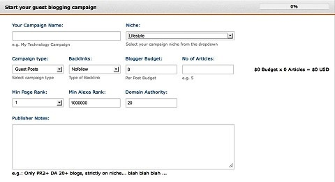 guest crew blogging campaign setup