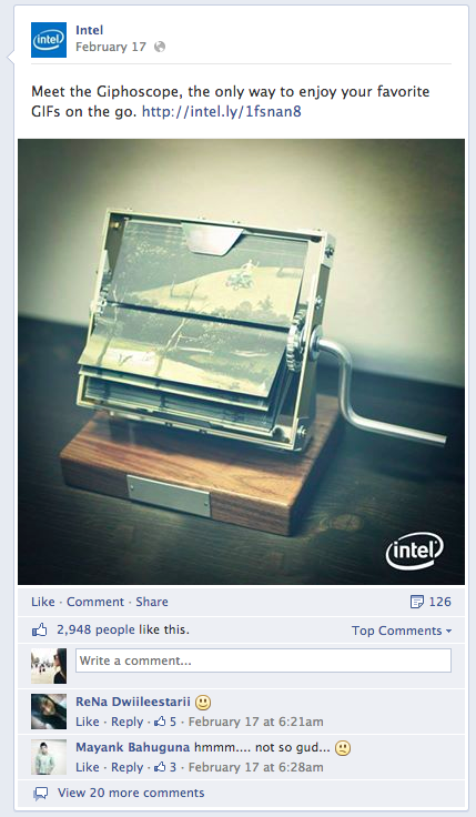 intel post on facebook