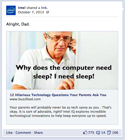 intel post su facebook