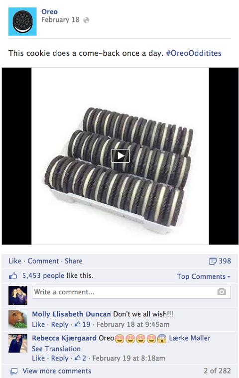 oreo post on facebook