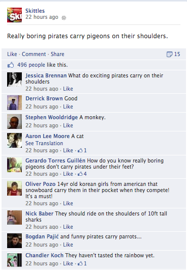 skittles fun post on facebook
