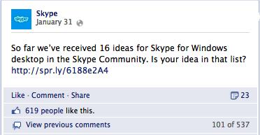 Skype su facebook