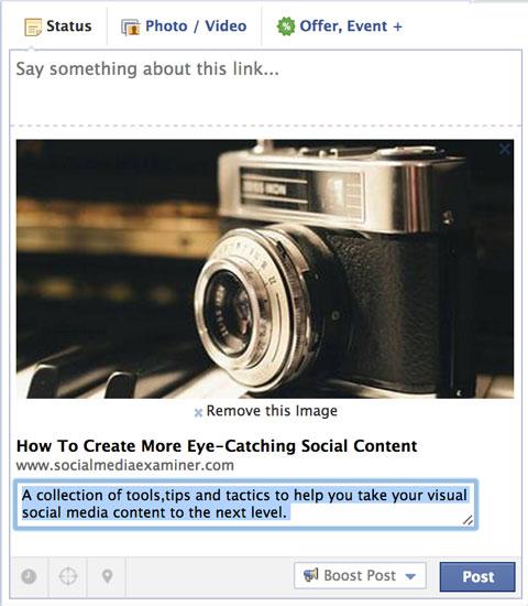 editing the description in a facebook link post