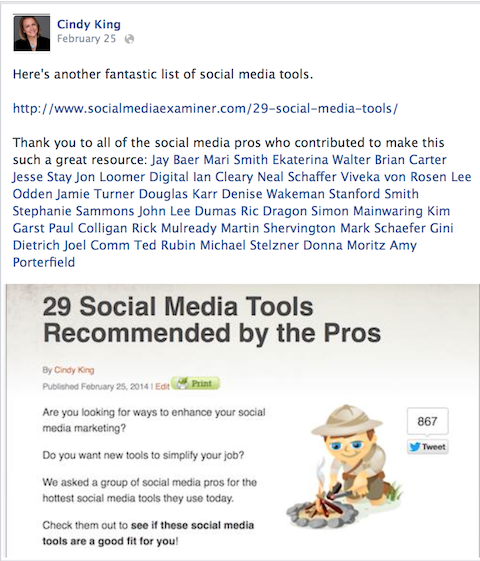 personal facebook update that mentions article contributors with a tag