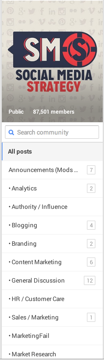 google+ discussion category list