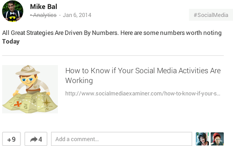 sharing a content link on google+