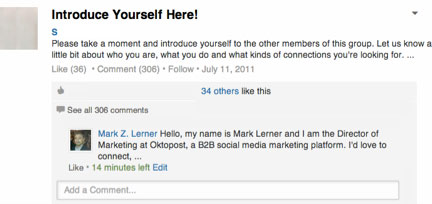 introducing yourself in a comment in a linkedin group