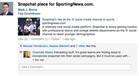 linkedin sports marketing group update