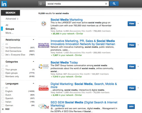 linkedin group listing