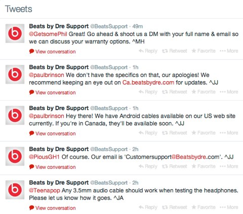 beats by dre support tweets