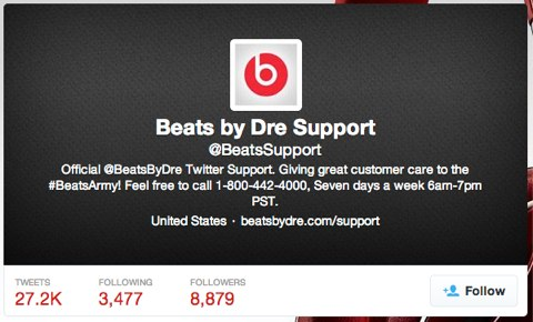 beats by dre twitter support