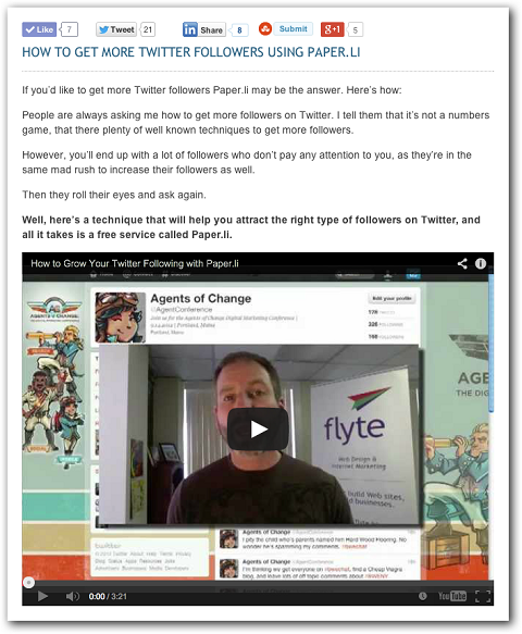 example of video blog post
