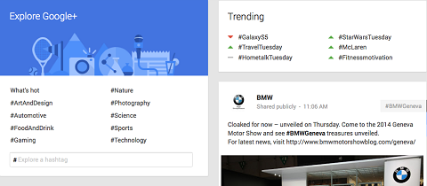 trending hashtags on google+