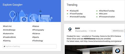 trending hashtags on google+