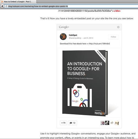 hubspot's embedded google+ post