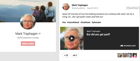 soundcloud post on google+