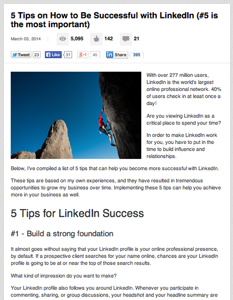 post on linkedin publishing platform