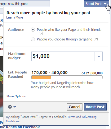 facebook boost target and budget options