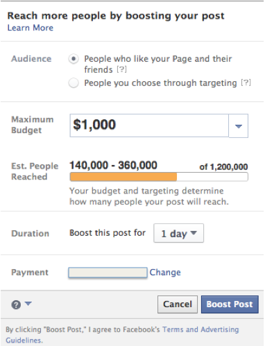 facebook boost post more options